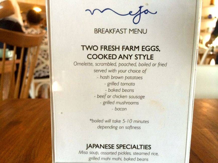 Breakfast Menu - It stays the same for our 4 days of stay.